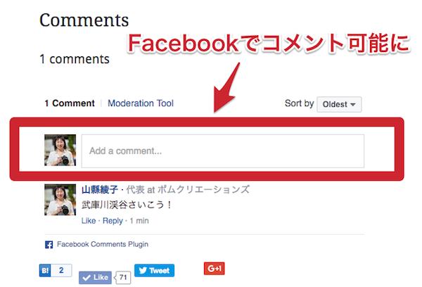 Facebookでコメントできる